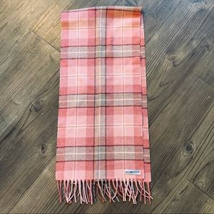 Pendleton Virgin Wool Plaid Fringe Scarf Pink Gray